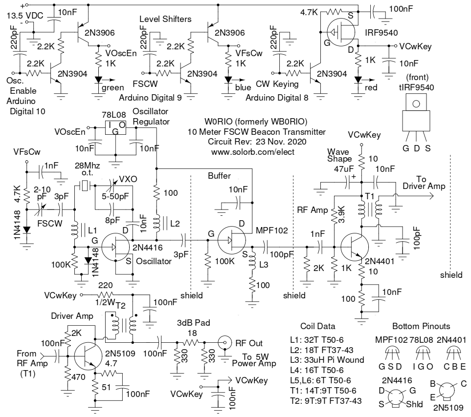 The Wb0rio 28 Mhz Fscw Beacon Rf Buffer Stage Exciter Schematic
