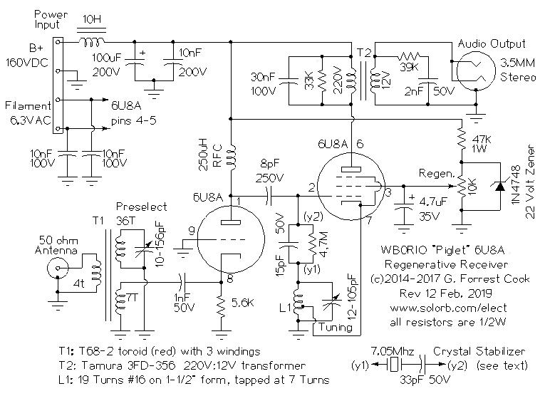 The WB0RIO Piglet 6U8A Regenerative Receiver on tube tester schematic, one tube radio schematic, vacuum tube radio schematic, tesla coil schematic, ad9850 schematic, regenerative radio, jacob's ladder schematic, crystal radio schematic,