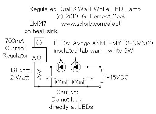 3 Watt Led Driver Circuit Diagram | Regulated Dual 3 Watt White Led Lamp