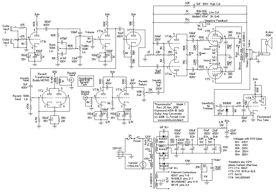 Hammonator1r3 hammonator organ to guitar amp conversion Voltage Regulator Wiring Diagram at soozxer.org
