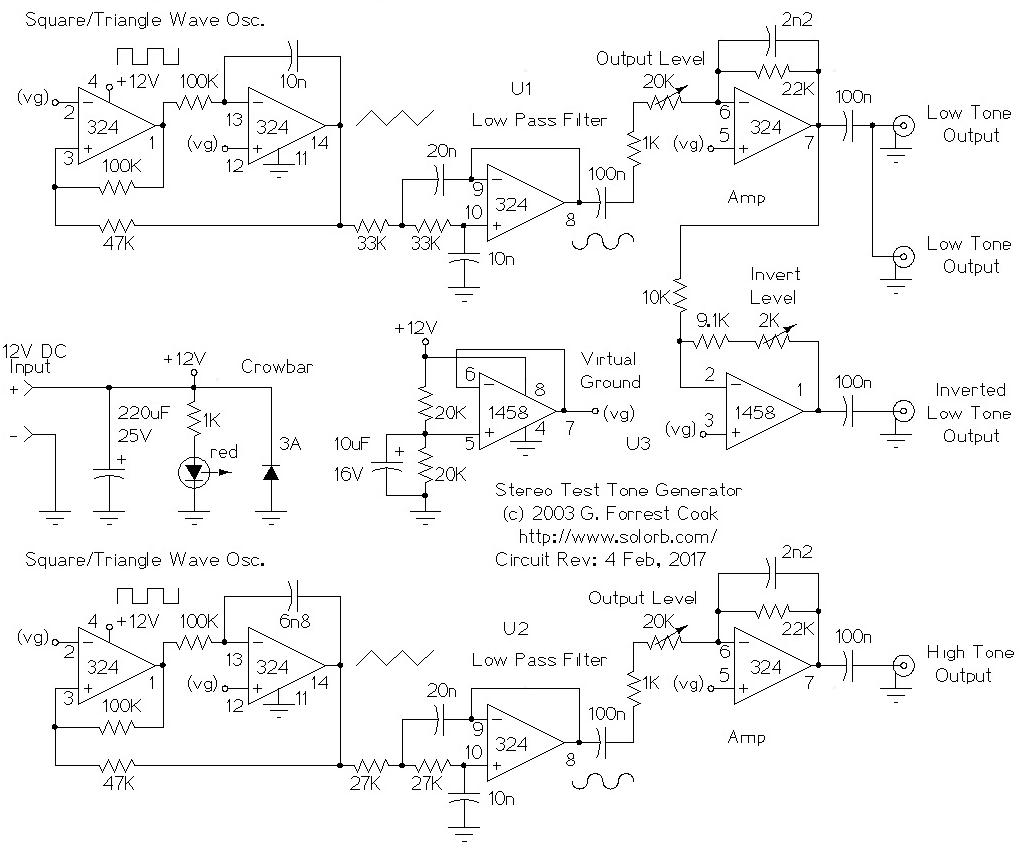 Stereo Test Tone Generator Triangle Wave Schematic