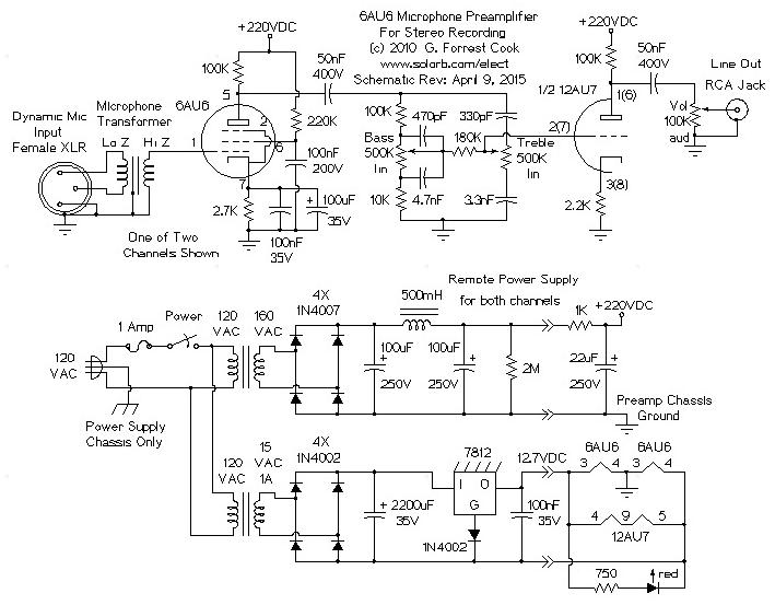 Vacuum Tube Stereo Microphone Preamp | Tube Mic Wiring Diagram |  | SolOrb.com