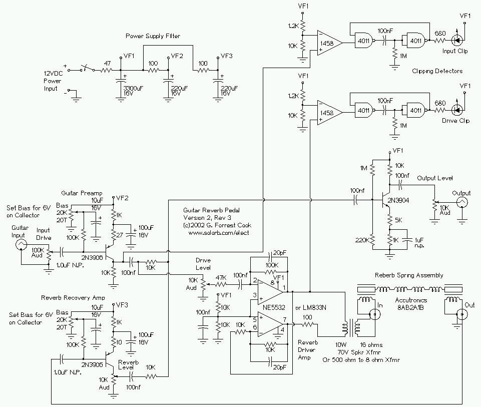 Guitar effects circuit design complete wiring diagrams guitar reverb effect version 2 rh solorb com guitar effects schematics diagrams simple reverb guitar effects schematics cheapraybanclubmaster