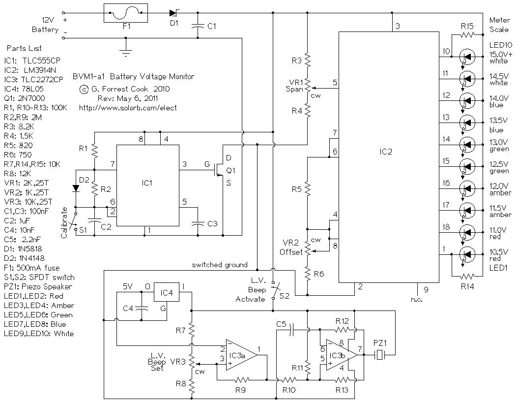 bvm1 12 volt battery voltage monitor rh solorb com lv schematic wiring diagram Basic Wiring Schematics