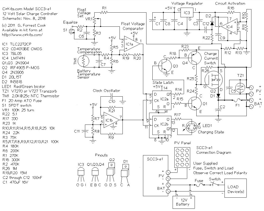 Scc3 12 Volt 20 Amp Solar Charge Controller Circuit Diagram Year 2 Schematic